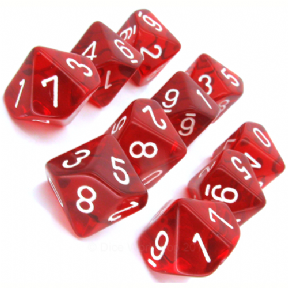 Red & White Translucent D10 Ten Sided Dice Set